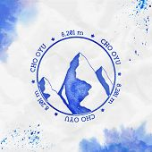Cho Oyu Logo. Round Stamp Blue Vector Insignia. Cho Oyu In Himalayas, Nepal Outdoor Adventure Illust poster