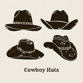 Vector Illustration Of Cowboy Hat. Hat Silhouette In Vintage Style , Grunge Effect. Elements Of The  poster