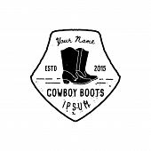 Western Logo Cowboy Boots Hand Draw Grunge Style. Wild West Symbol Sing Of A Cowboy Boots And Retro  poster