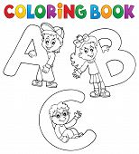 Coloring Book Children With Letters Abc - Eps10 Vector Picture Illustration. poster