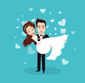 Couple In Love On Wedding Day Vector, Bride And Groom Cuddling, Male Holding Woman Newlywed People H poster
