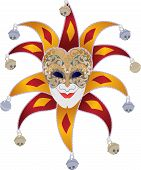 stock photo of jester  - Venetian mask with bells jester - JPG