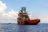 Offshore Oil And Gas Construction Vessel In Labuan Island,malaysia.all The Vessels Port In Labuan Is poster