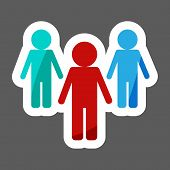 Vector Colored Sticker Image Of A Crowd Of People And One Person Standing Aside. A Person Different  poster
