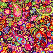 Hippie vivid colorful wallpaper with abstract flowers, hippie peace symbol, butterfly, ladybird, pom poster
