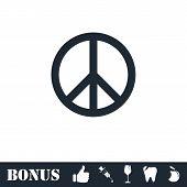 Hippie Peace Icon Flat. Vector Illustration Symbol And Bonus Pictogram poster