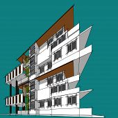 3D Illustration Architecture Building Perspective Lines. poster