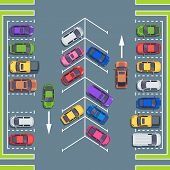 City Parking Top View. Park Spaces For Cars, Car Parking Zone. Automobile On Asphalt Road, Vehicle P poster