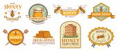 Honey Badge. Natural Bee Farm Product Label, Organic Beekeeping Pollen And Bees Hive Emblem Badges.  poster