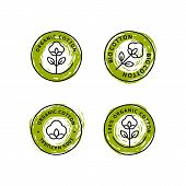 Set Of Natural Organic Cotton Liner Labels And Badges - Vector Round Green Icon, Sticker, Logo, Stam poster