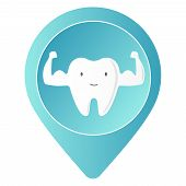 Healthy Tooth Character Showing Muscle With Smiley Face. Dental Care Concept. Single White And Very  poster