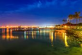Coronado Bridge And San Diego Downtown Skyscrapers Of Downtown From The Beach In Coronado Island, So poster
