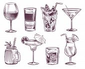Sketch Cocktails. Hand Drawn Cocktail And Alcohol Drink, Different Drinks In Glass For Party Restaur poster