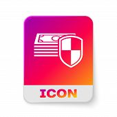White Money Protection Icon On White Background. Financial Security, Bank Account Protection, Fraud  poster