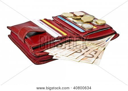 Red wallet with cards and euro money