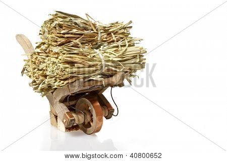 Handcart with straw