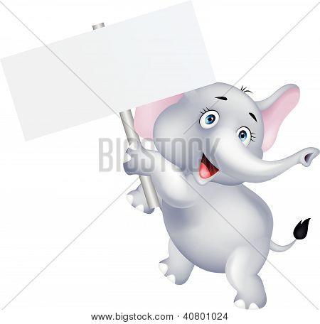 Funny elephant cartoon with blank sign
