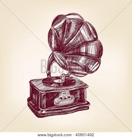 Gramophone vintage vector illustration