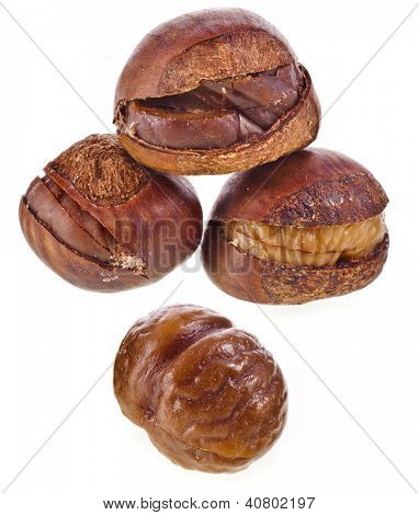 Chestnuts fruits cooked roasted unpeeled isolated on white background
