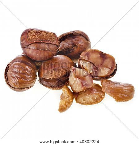 Cooked chestnut fruit isolated on white background