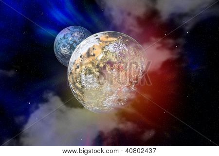 Planet with moon in a free space