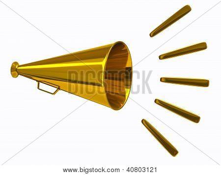 Gold megaphone icon