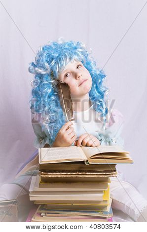 little girl with blue hair writing a book