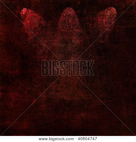 Abstract Red Background Or Paper With Three Bright Spotlights And Dark Border Frame With Grunge Back