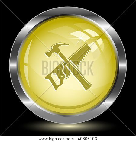 Hand saw and hammer. Internet button. Raster illustration.