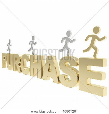 Human Running Symbolic Figures Over The Word Purchase