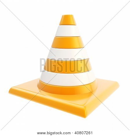 Roadworks Orange Glossy Cone Isolated