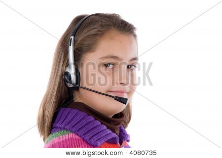 Adorable Girl With Microphone And Headphones