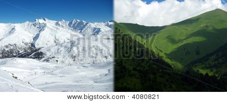 Mountains In Different Seasons