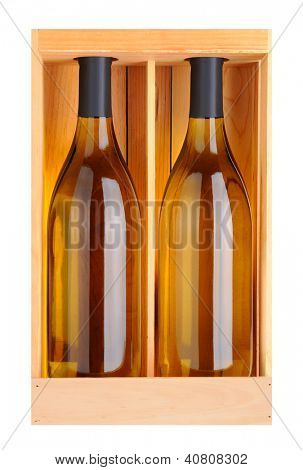Two Chardonnay bottles without labels in a wood gift box. Vertical format isolated on white.
