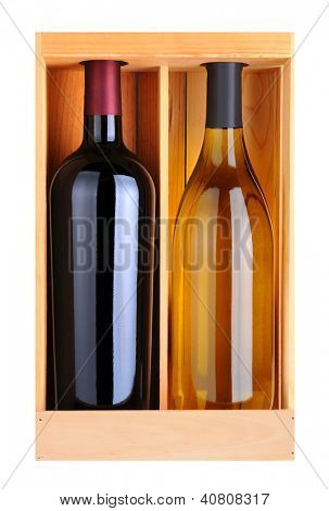 A Cabernet Sauvignoon and Chardonnay bottle without labels in a wood gift box. Vertical format isolated on white.