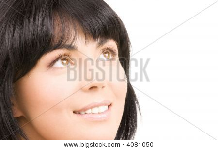 Happy Woman Looking Up