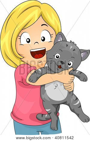 Illustration of a Little Girl Hugging a Cat