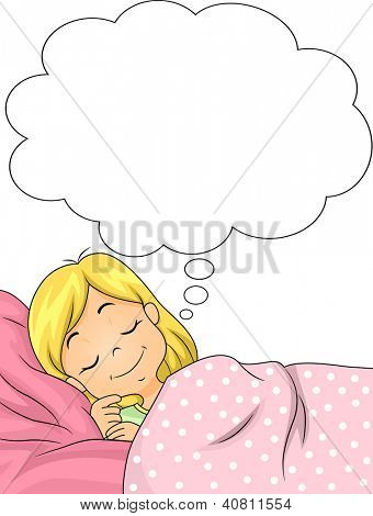 Illustration of a Girl Smiling While Dreaming
