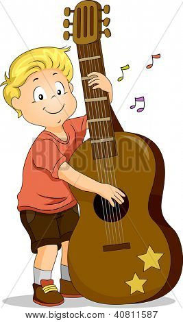 Illustration of a Boy Strumming a Large Guitar