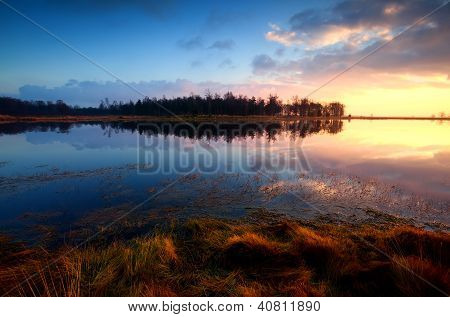 Sunset On Wild Lake In Dwingelderveld