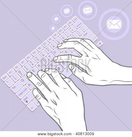 Keying on Keyboard - Hand Gesture for  Desktop, Laptop, Tablet
