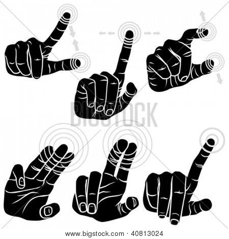Multitouch Hand Gestures For Smart-phone, Tablet And Pad - Set of Six Gestures
