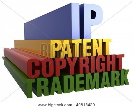 Intellectual Property Patent Copyright Trademark 3D word stack with clipping path