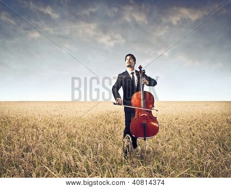 Cellist on a large field