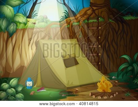 Illustration of a camping tent in a beautiful nature