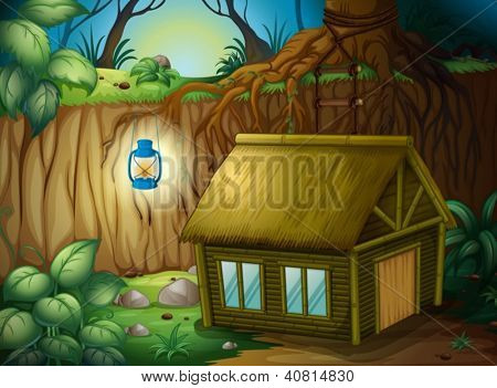 Illustration of a bamboo house and a lamp in a beautiful forest