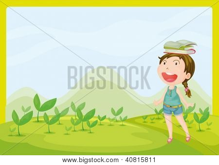 Illustration of a smiling girl in a beautiful nature