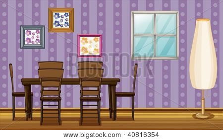 Illustration of a dinning table and a lamp in a room