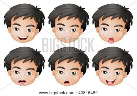 Illustration of faces of a boy on a white background