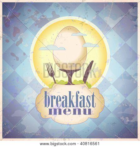 Retro breakfast menu card design template. Eps10.